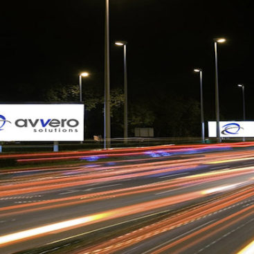 Digital Signage billboards with AVVERO Solutions logo