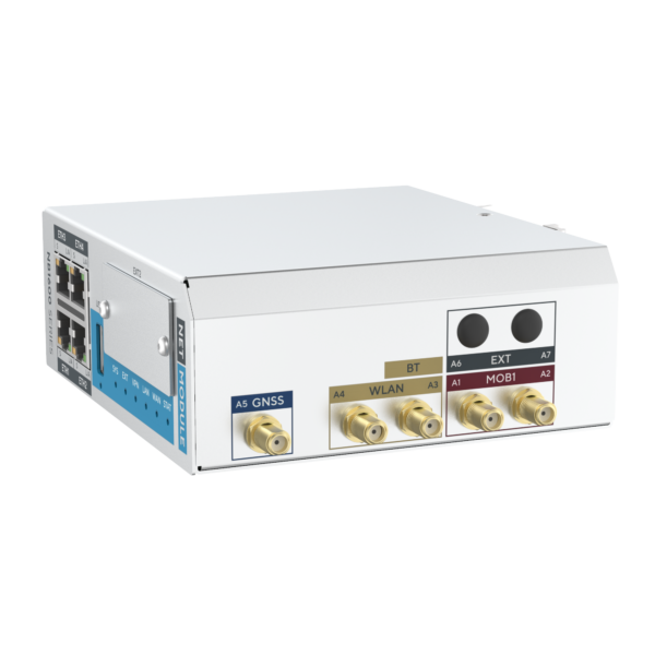 NB1601 industrial router with 4 fast ethernet and cellular - view from top and front