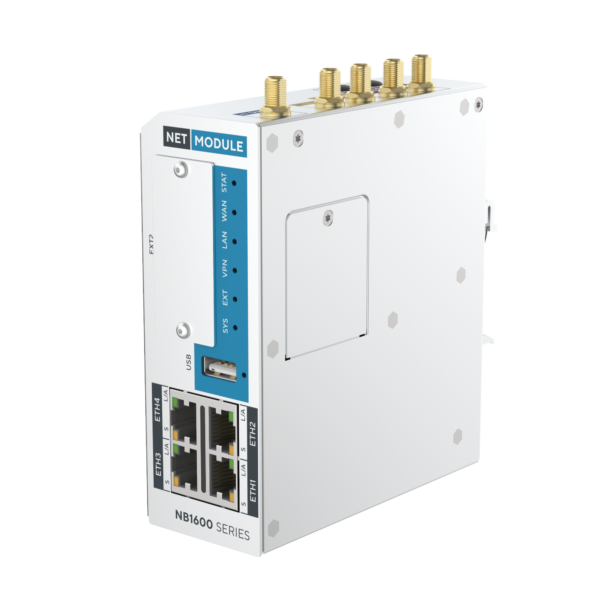 Nb1601 industrial router with 4 fast ethernet and cellular - view of front and right side